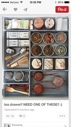Martha's Top Kitchen Organizing Tips Tea Supplies Be ready to make the perfect pot with strainers, tea balls, honey dippers, & special tea leaves all in one drawer.I did this years ago & it is wonderful.I love drawers that pull out so I can see everyth Kitchen Organization, Organization Ideas, Storage Ideas, Kitchen Storage, Storage Solutions, Garden Organization, Workshop Organization, Afternoon Tea, Tea Time