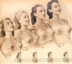 1940s Lingerie  Bra, Girdle, Slips, Underwear History. 1945 types of bras for small to full figure busts.   #1940sfashion #lingerie #vintage