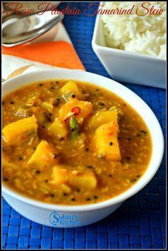 Vazhakkai Stew (Vazhakkai Puli Itta Kootu) is a stew made using Raw Banana with tamarind mixture. Curry Recipes, Raw Food Recipes, Lunch Recipes, Indian Food Recipes, Cooking Recipes, Kerala Recipes, Cooking Ideas, Dessert Recipes, Banana Curry