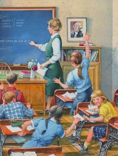 """Charles Peterson's School Days Series print """"Taking Notes"""" Very similar to my class; except, the girl's would not be passing notes, the would be exchanging texts! Images Vintage, Vintage Pictures, Vintage Ads, Vintage Posters, Norman Rockwell Art, Vintage School, School Daze, Arte Pop, Country Art"""