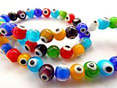 Lampwork Glass Evil Eye Beads, Evil Eye Bead Strand, Lampwork Beads, 8mm Glass Beads, Mixed Color Beads, Strand of 50 Glass Bead Rounds