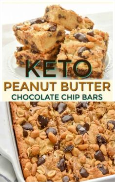 These Keto Peanut Butter Chocolate Chip Bars are loaded with peanut butter and chocolate goodness. Thick and oozing with peanut butter and melty sugar-free chocolate chips makes these the perfect little low carb treat. #ketopeanutbutterchocolatechipbars #ketocookiebars #lowcarbcookiebars Keto Cookies, Sugar Free Cookies, Sugar Free Desserts, Low Carb Desserts, Healthy Dessert Recipes, Keto Snacks, Low Carb Recipes, Snack Recipes, Chocolate Chip Bars