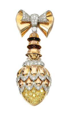 Diamond fob watch, Boucheron, 1940s  Designed as a stylised fir cone suspended from a bow motif, set with circular- and single-cut diamonds of yellow and near colourless tint, the reverse set with a circular dial applied with blued steel hands and Arabic numerals, signed Boucheron, Paris, French assay and maker's marks, case, Boucheron.