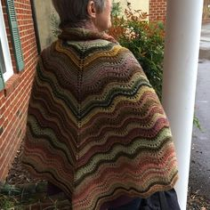Judith's handknit mushroom-dyed shawl in wool traceable to a Virginia flock