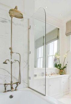 48 Wonderful Marble Bathroom Designs : 48 Luxurious Marble Bathroom Designs With White Bathroom Wall Glass Shower Wash Basin Mirror Flower Decor Ceramic Floor Serene Bathroom, Beautiful Bathrooms, Master Bathroom, White Bathrooms, Marble Bathrooms, Bathroom Bath, Downstairs Bathroom, Small Bathroom, Bathroom Plans