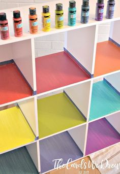 Spruce up the traditional kids toy cubbies with this fun Rainbow Cubby Toy Organizer from The Cards We Drew. Rainbow Room Kids, Rainbow Bedroom, Rainbow Girls Rooms, Playroom Decor, Kids Decor, Playroom Paint Colors, Colorful Playroom, Bedroom Closet Doors, Master Bedroom