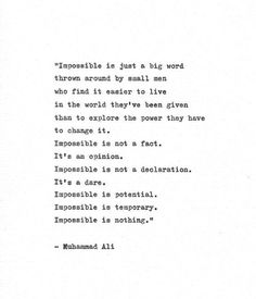 """Muhammad Ali Inspirational Quote """"Impossible is Nothing"""" Vintage Typewriter Hand Typed Print Boxing Print Heavyweight Champion Cassius Clay Typed Quotes, Poem Quotes, Wisdom Quotes, Words Quotes, Life Quotes, Sayings, Encouragement Quotes For Men, Change Quotes, Quotes To Live By"""