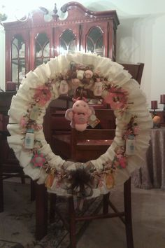 Diaper wreath--large--pink and brown