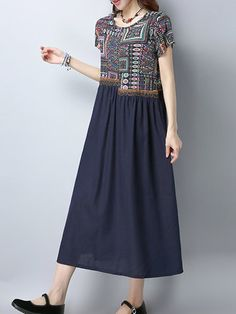 Women Ethnic Patchwork Short Sleeve Mid-Long Vintage Dresses