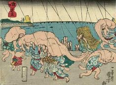 In the mid-1840s, Japanese ukiyo-e master Utagawa Kuniyoshi (1797-1861) created a number of woodblock prints showing legendary tanuki (raccoon dogs) using their humorously large scrota in creative ways. Here: shelter from an evening shower