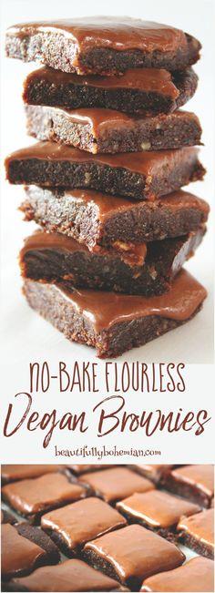 No-Bake Flourless Vegan Brownies (Gluten Free!) - Beautifully Bohemian