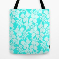 White Lace on Blue Tote Bag by Alice Gosling - $18.00  ALL Tote Bags are now full bleed, printed both sides and available in 3 sizes #bag #lace #blue #white #pretty #pattern #floral