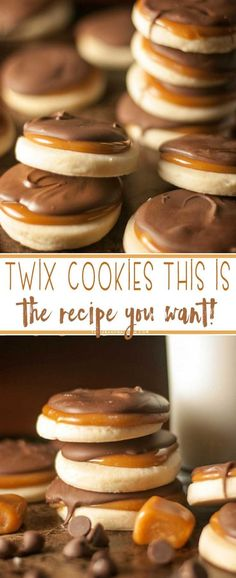Twix Cookies. Made with a buttery, flaky shortbread base then add some caramel and top with chocolate, these cookies are bound to become a favorite. #Desserts