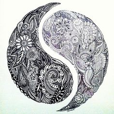 Henna Inspired Yin Yang Design Would love this for myself and my love with perhaps a faint outline of the part missing that he has upon him Yen Yang, Ying Y Yang, Yin Yang Art, Yin Yang Tattoos, Tattoo Drawings, Body Art Tattoos, Cool Tattoos, Tatoos, Mandala Tattoo