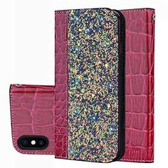 Shiny Crocodile Pattern Stitching Magnetic Closure Flip Holster Shockproof Phone Cases for Samsung Galaxy - Wine Red, the Front Cover Come with Crocodile PU Leather Stitching with Glitter Surface, Guuds Wholesale Samsung Galaxy S9, Galaxy S8, Mobile Phone Cases, Iphone Cases, Iphone 8, Accessoires Iphone, Wallet Pattern, Galaxy Note 9, Iphone Models