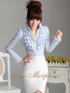 Morpheus Boutique  - Blue Stripe Designer Vintage Lady Ruffle Collar Sleeve Shirt/top