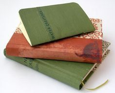 Handbound books. I made the covers from bookcloth taken from badly damaged books. Hooray for 'upcycling'!