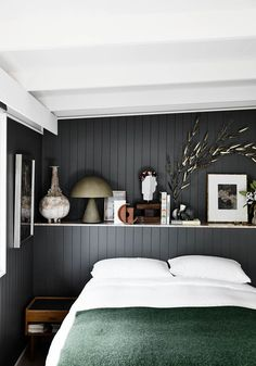 Designer and stylist Simone Haag's Melbourne home is proof that you can create more space if you're willing to think outside the box. Take a tour of the recently renovated abode. Green Bedding, Bedroom Green, Bedroom Wall, Bedroom Decor, Wall Beds, Australian Interior Design, Interior Design Awards, Australian Homes, Vintage Dining Chairs