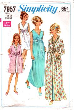 Simplicity 7957  1960s Misses Robe Negligee Nightgown Pattern  Womens Vintage Sewing Pattern Size 14 Bust 36 UCUT