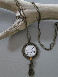 collier sautoir °chat°  chaine bronze, verre de Les3filles sur DaWanda.com