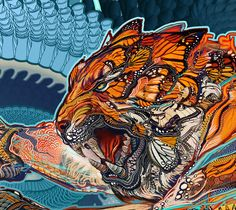 """Tiger Swallow Tail Poster """"x heavy stock 20 lb. art paper 30 Shipped in a tube Please allow 2 weeks for your order to arrive. Doodles Zentangles, Trippy Cartoon, Android Jones, Stoner Art, Mural Art, Chinese Art, Artist Art, Cat Art, Photo Art"""