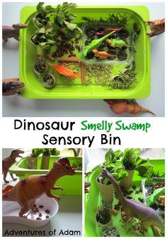 Week 2 - Sense of Smell Dinosaur Smelly Swamp Sensory Bin | http://adventuresofadam.co.uk/dinosaur-smelly-swamp-sensory-bin/