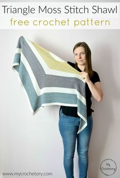 Crochet this modern and wearable Triangle Moss Stitch Shawl. It's perfect for beginner crocheters and for the moss stitch lovers. You can find easy and free crochet pattern on my blog WWW.mycrochetory.com