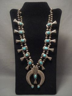 1920's Blue Gem Turquoise  and Silver Navajo Squash Blossom Necklace