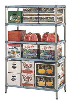 MetroMax Q polymer shelving is ideal for cold room storage. Room Shelves, Storage Room, Stainless Kitchen, Epoxy Coating, Corner Shelf, Shelving, Stationary, Grid, Frames