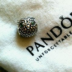Pandora Wise Owl Charm Silver w/Dark Green CZ Brand new, never worn. These don't come with any retail tags or stickers, as Pandora doesn't do that. 791211CZN   Authentic Pandora charm bead. A great addition to your bracelet! Pandora Jewelry Bracelets