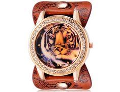 Kaladia dameshorloge met tijger print