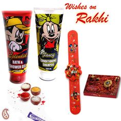 Picture of Mickey Shower Gel n Shampoo with Rakhi Hamper Voss Bottle, Water Bottle, Hampers Online, Conditioning Shampoo, Rakhi Gifts, Gift Hampers, Arizona Tea, Shower Gel, Drinking Tea