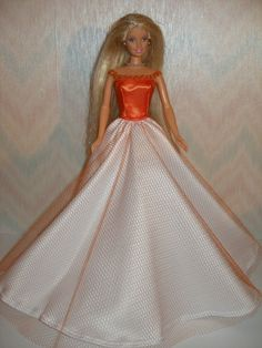 Handmade barbie doll clothes orange and white by TheDesigningRose