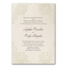 Ecru Wedding Invitations Shimmering Pearl Foil Lace by AisleTime Ivory Wedding Invitations, Discount Wedding Invitations, Lace Wedding Invitations, Wedding Invitation Wording, Elegant Wedding Invitations, Wedding Stationery, Invitation Ideas, Kate Spade Wedding Shoes, Celebration Love