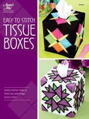 Easy to Stitch Tissue Boxes Pattern -- Choose from 2 popular quilt-look tissue toppers designed to fit a boutique tissue box.