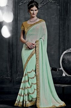 Majestic Mint Green Saree