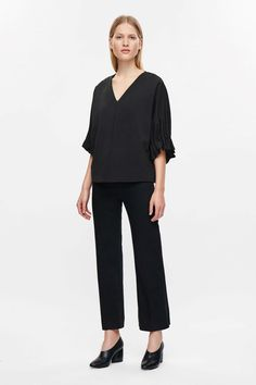COS Top with draped sleeves in Black