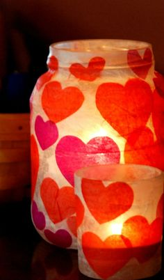 Easy Valentines Craft Ideas with Mason Jars, Tissue Paper and Modge Podge