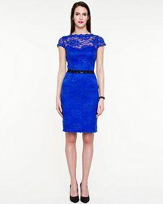 Lace Illusion Neckline Dress #electricblue #madeincanada