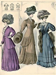 Fashion Plate - De Gracieuse - 1908 Edwardian Dress, Edwardian Era, Victorian, 1900s Fashion, Edwardian Fashion, Ap Studio Art, Fashion Illustration Vintage, Historical Clothing, Fashion Plates
