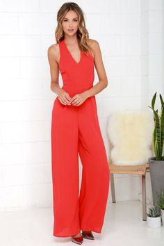 46497bfd728a Back to Me Coral Red Backless Jumpsuit. Jumpsuits For WomenBackless JumpsuitHot  OutfitsLulu ...