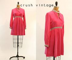 60s Dress Pink Velvet XS / 1960s Vintage Dress by CrushVintage