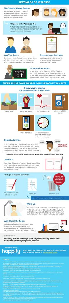 Psychology : How To Stop Negative Thoughts From Getting You Down (Infographic)  For the worri