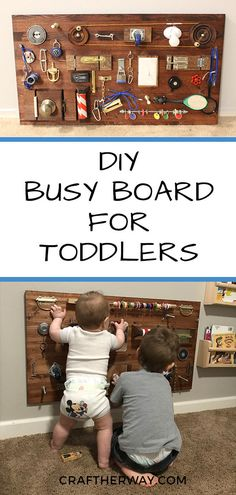 Busy Board for Toddlers Looking for baby play activities? Try this busy board which is perfect for baby who can sit up and toddlersLooking for baby play activities? Try this busy board which is perfect for baby who can sit up and toddlers Toddler Learning, Toddler Fun, Toddler Crafts, Toddler Toys, Learning Games, Busy Boards For Toddlers, Board For Kids, Diy For Kids, Diy Toys For Toddlers