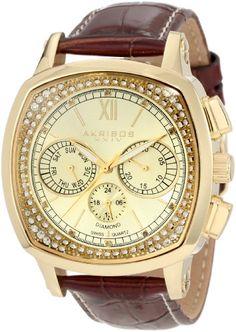 Men's Wrist Watches - Akribos XXIV Mens AKR462YG Grandoise Multi Function Diamond Swiss Quartz Square Watch >>> Click image for more details.