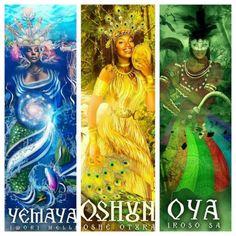 Orisha: Yemaya, Oshun and Oya African Mythology, African Goddess, Oshun Goddess, Goddess Art, Kali Ma, African American Art, African Art, Yemaya Orisha, Yoruba Orishas