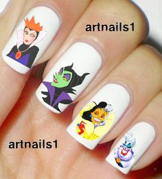 Disney Villains Maleficent Nail Art Nails Polish Evil by Halloween Nail Designs, Halloween Nails, Halloween 2015, Disney Halloween, Nail Art Stickers, Nail Decals, Nail Art Disney, Disney Decals, Disney Manicure