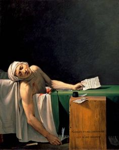 Jacques-Louis David (30/8/1748 - 29/12/1825): The Death of Marat, 1793 (oil on canvas). Musées Royaux des Beaux-Arts, Brussels. Ostensibly, Madame Tussaud took a cast of Marat, still in the bath. But her cast of Robespierre's head shows no sign of a broken jaw (shattered thanks to a bungled suicide attempt or a soldier's bullet, take your pick). It's a shame to doubt her word; love the idea of Madame Tussaud calmly taking a cast of Marat so soon after his assassination. KA