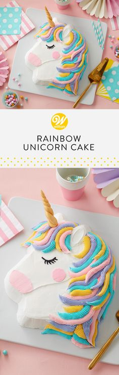 This Rainbow Unicorn Cake is complete with a colorful pastel mane and a gold fondant horn! A great project for beginning decorators, this cake uses the pony pan to make this shaped cake. Create the mane using whatever color combination you'd like for a customized look! #wiltoncakes #cakes #cakeideas #cakedecorating #desserts #desserttable #birthdayparty #birthday #birthdays #birthdayideas #birthdaycakes #unicorn #unicornparty #unicorncake #buttercream #buttercreamcake #buttercreamfrosting