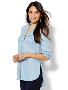 Shop Soho Soft Shirt - Tunic - Light Indigo . Find your perfect size online at the best price at New York & Company.